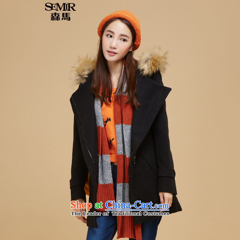 Sum horsehair jackets for爓inter 2015 new president for pure color in the gross long straight leg a wool coat Korean Black 9000 S