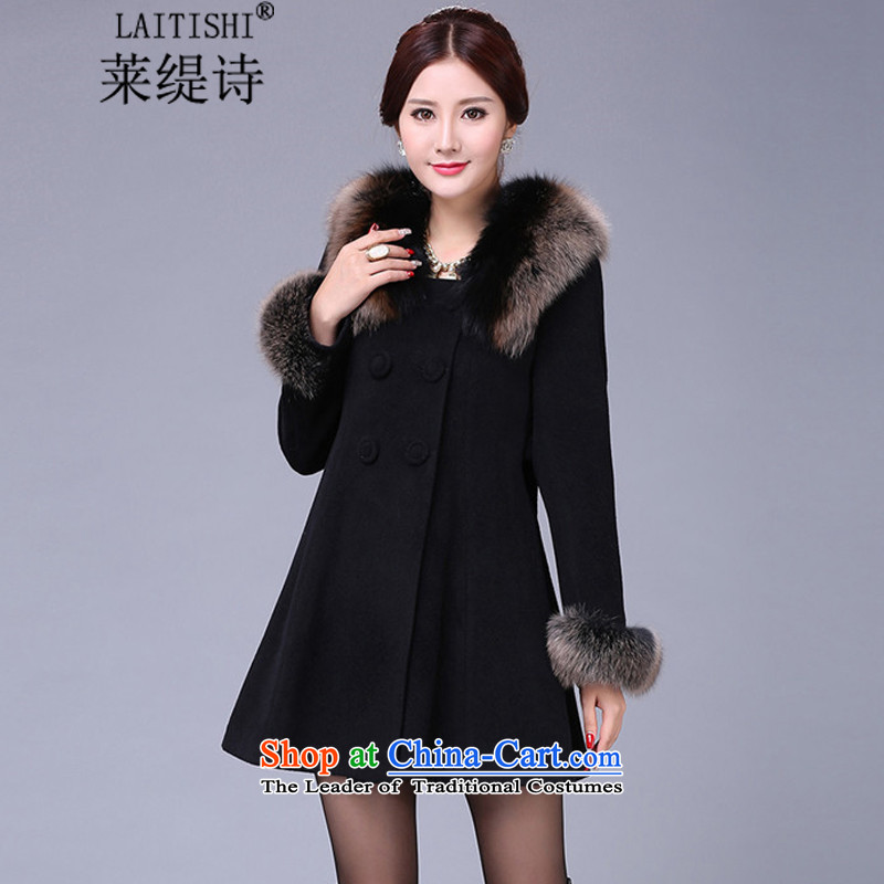 Blair's poem by 2015 winter new Korean version for Sau San Gross Gross girls jacket? long coats female 8212_ cashmere聽XXXXL black