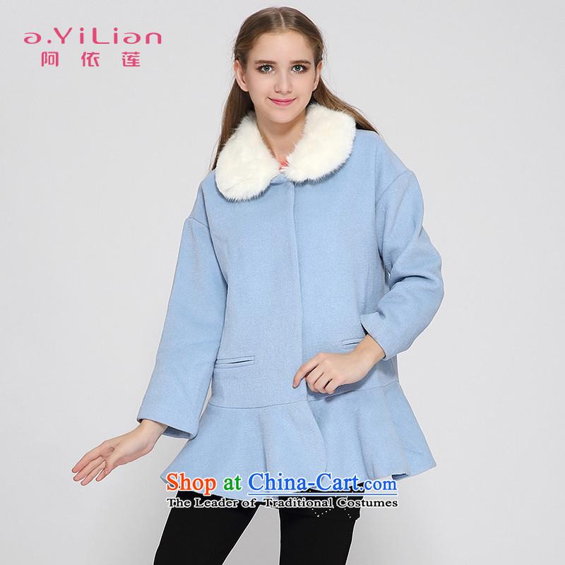 Aida 2015 Winter New Lin removable gross for sweet elegant billowy flounces, under the wool coat jacket CA44297364? Gray Powder Blue燣