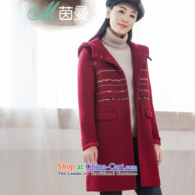 Athena Chu Cayman 2015 winter clothing new national embroidered cap long coats)??- 8543210368 (cloak dark red S