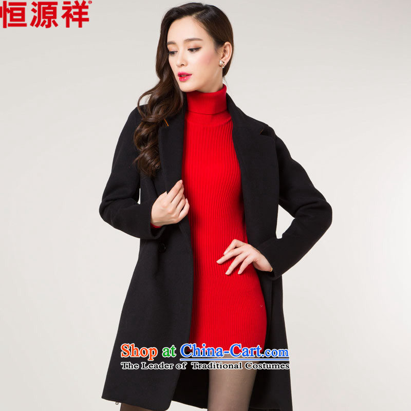 Hengyuan Cheung double-side coats, wool, the full length of the Korean version of the middle-aged wool coat W1527 stylish black?L-170