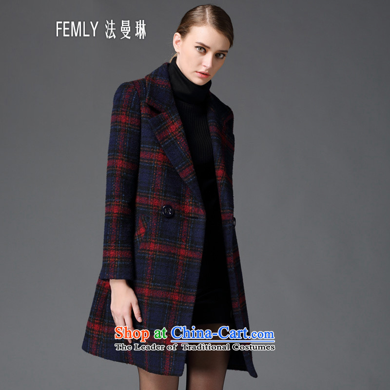?The Law of Cayman's gross FEMLY? Long girls jacket for autumn and winter 2015 new retro Sau San thick children a wool coat 6389 Red Grid?L