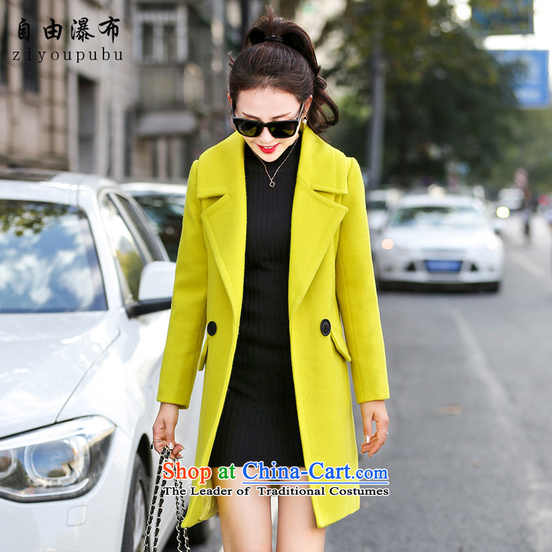 Free falls in gross? jacket coat long relaxd winter grass green plus D16 gross for燣