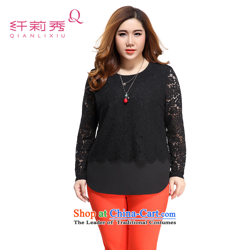 The former Yugoslavia Li Sau 2015 Fall/Winter Collections new larger female lace stitching wild pure color long-sleeved Pullover lace Netherlands 0876 female black 4XL