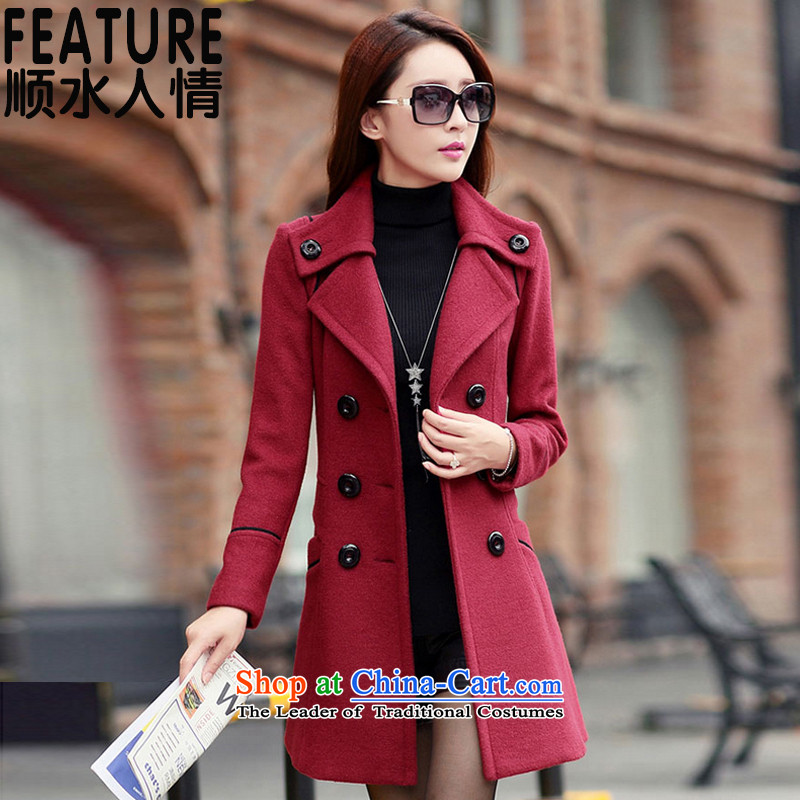 The unaffordability of personal�15 Fall_Winter Collections new coats of ladies hair? Korean wild jacket female 9600T? wine red�   L