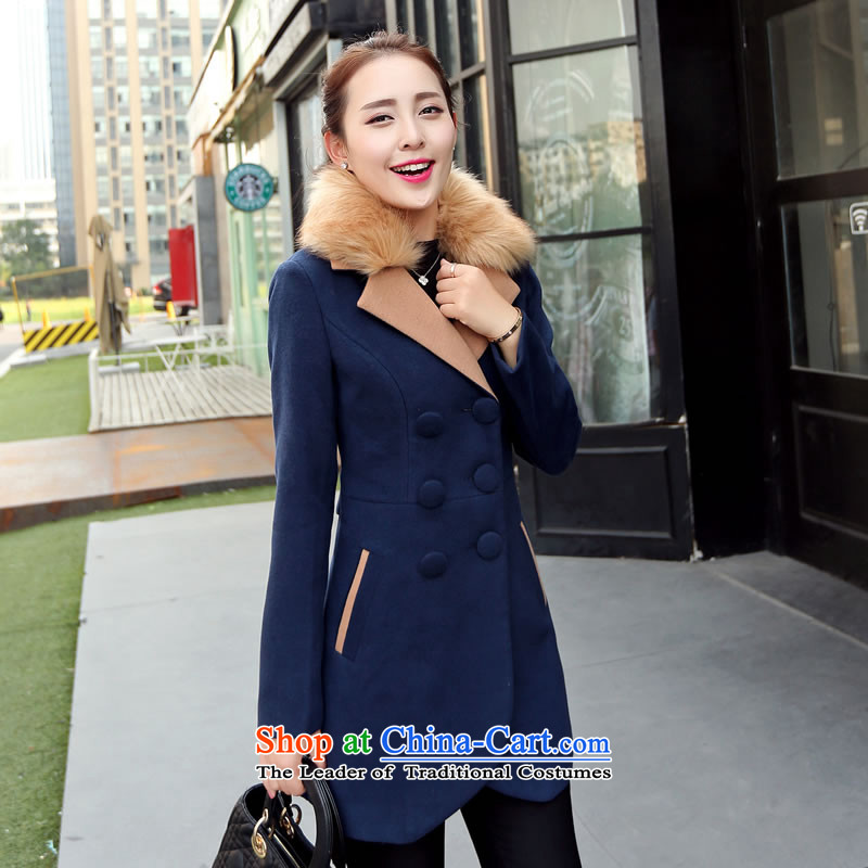 Load the new Korean autumn version of large lapel pin video thin wild with double-emulation for women 9523 gross coats of Cyan XL