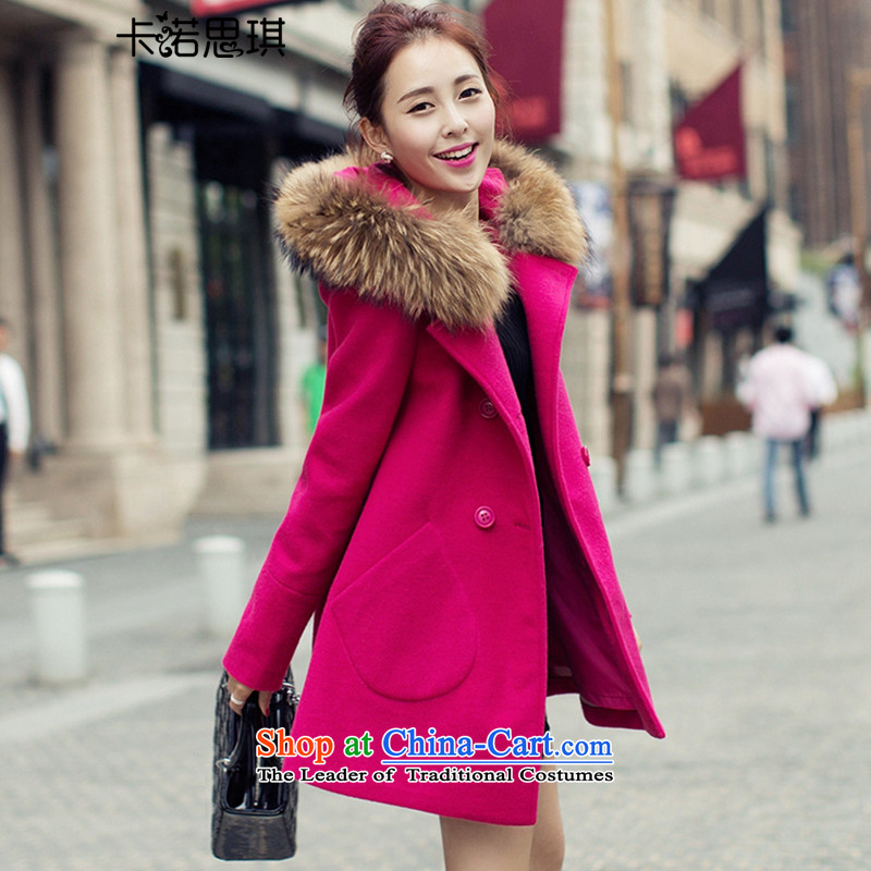 2015 Autumn and winter new Korean fashion for pure colors on the Nagymaros Wild Hair? girls jacket long_? female�268 coats爋f red燲L