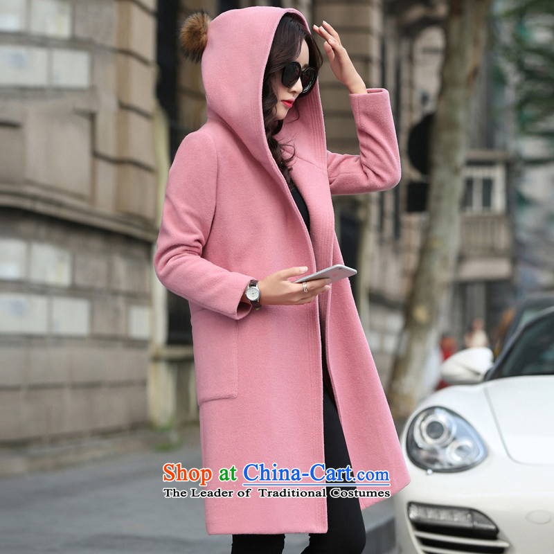 2015 Autumn and winter new Korean jacket coat in gross? long cap stylish pure color coats female1713?pinkM