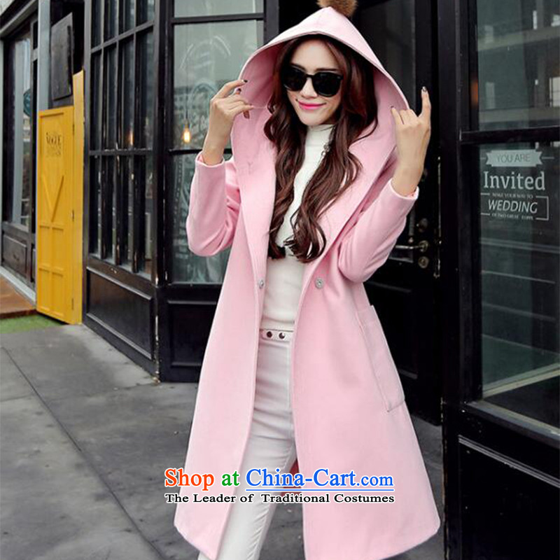2015 Autumn and winter new Korean jacket coat in gross? long cap stylish pure color coats female?1713??pink?L