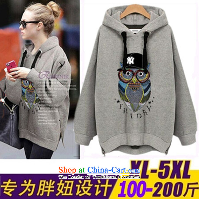 2015 Fall_Winter Collections new Korean to increase women's code thick MM200 catty thick, Hin thin, lint-free in the thick long thick sister sweater jacket and light gray XXXXXL