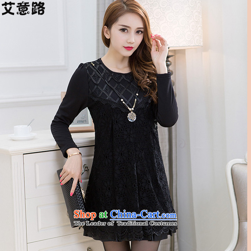 To Luke HIV in thick long wool lace autumn large long-sleeved blouses chiffon shirt warm clothes dresses5277 Black?XXL