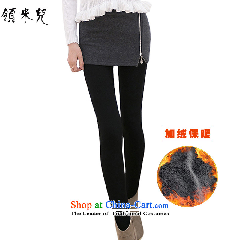 For M- Large 2015 Fall_Winter Collections for women to increase new leave two extra-thick wool pants casual pants Y1166 skirt Gray plus 3XL lint-free