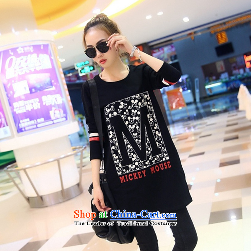 Load New autumn 2015 Korean Version to increase women's code thick MM loose T shirt thick, Hin Thin Layer Shirt thick sister 200 catties. long black shirt燲XXXXL Coated