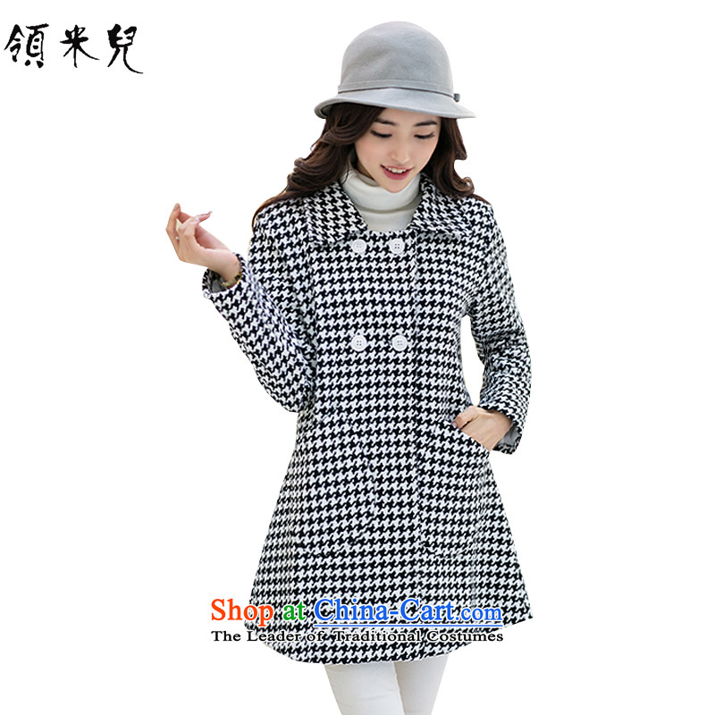 For M- Large 2015 Fall_Winter Collections for women to increase new chidori grid gross? overcoat Sau San monochrome chidori 3XL.