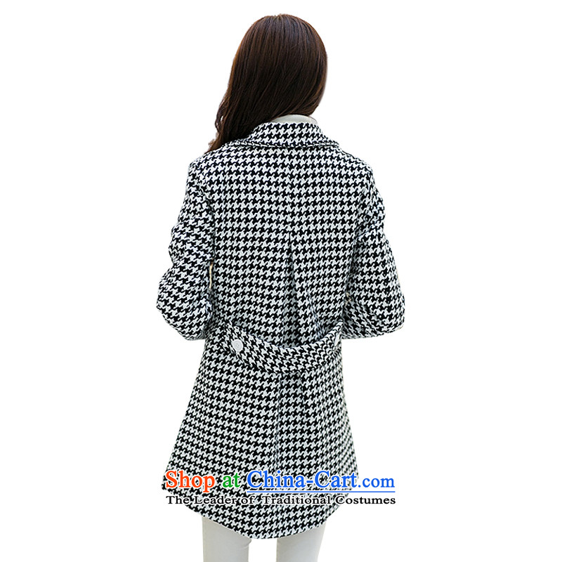 For M-聽Large 2015 Fall/Winter Collections for women to increase new chidori grid gross? overcoat Sau San monochrome chidori聽3XL, grid for M-shopping on the Internet has been pressed.