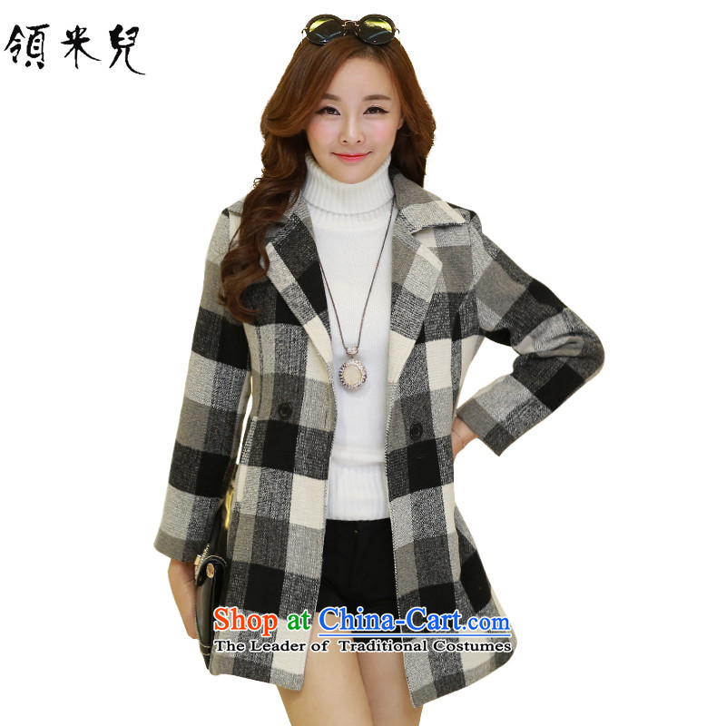 For M-燣arge 2015 Fall_Winter Collections for women to increase new grid gross jacket checkered�L?