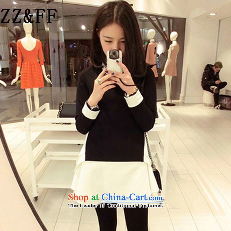 2015 Autumn and winter Zz&ff new Korean thick MM THIN large relaxd graphics stitching long-sleeved package and dresses, forming the female black T-shirt XL(125-150 catties)