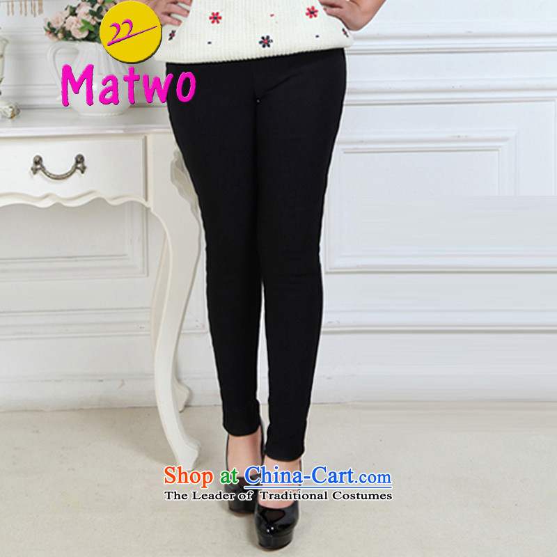 燭he burden of thick MM200 matwo high elastic waist larger female plus winter, wearing thick wool quilts, forming the women trousers M1365 black large XXXXXL code