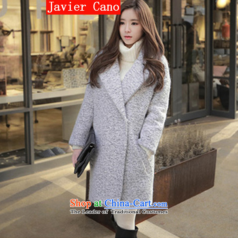 Javier cano 2015 winter clothing Korean Sau San-gross? coats cocoon female autumn_ long thick wool a jacket gray聽M