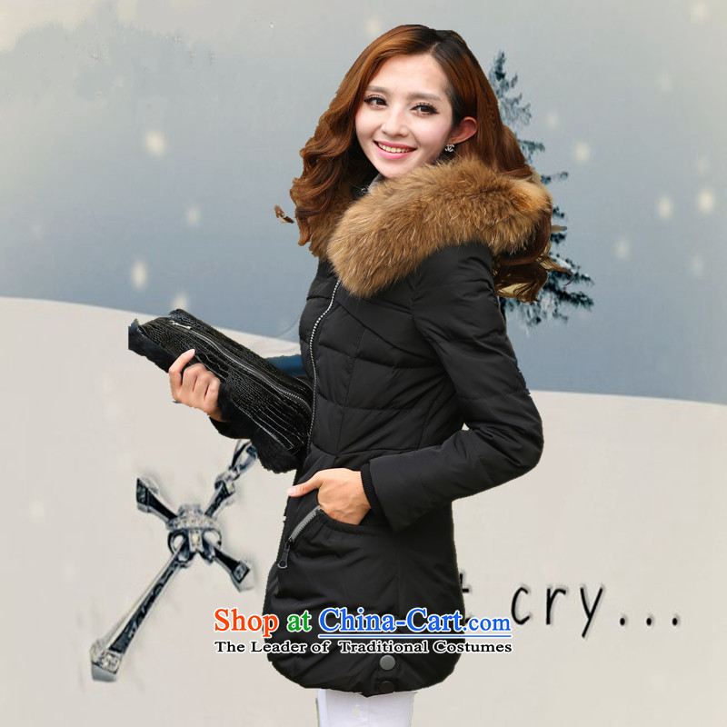 To intensify the code 8X DOWNCOAT stylish graphics thin 200 catties of Sau San Fat MM Winter Female thick warm white duck down really nuclear-Nagymaros collar Windproof Jacket black�L爎ecommendations 190-210