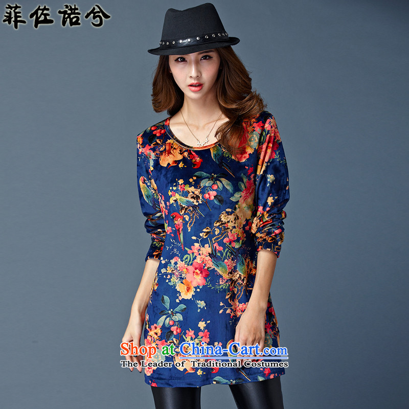 The officials of the fuseau larger women forming the stamp shirt thick velvet thick mm to increase the number of thermal underwear blue4XL