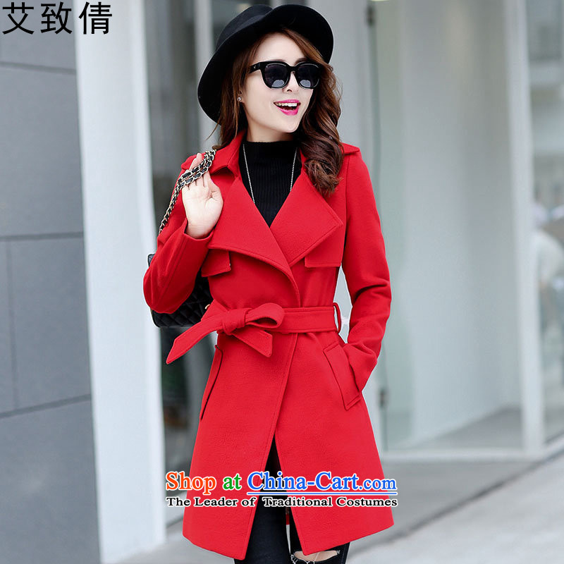 The HIV?autumn and winter 2015 Chien new gross female Korean jacket?   in the medium to long term_? coats red?XL