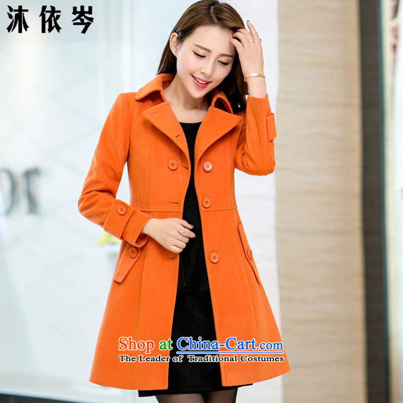 In accordance with the CEN 2015 bathing in the autumn and winter new women in Korean Sau San long stylish cloak? jacket 270_ gross orange?L
