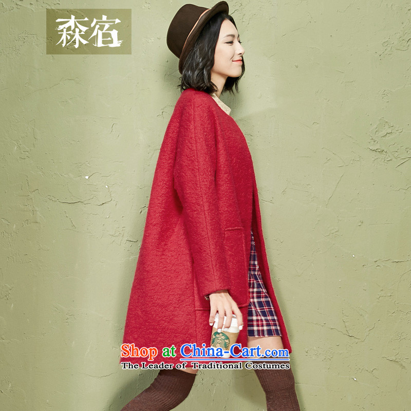 Accommodation in small time爊ew 2015 winter clothing arts circle? pockets? coats�42740 gross燬carlet燬