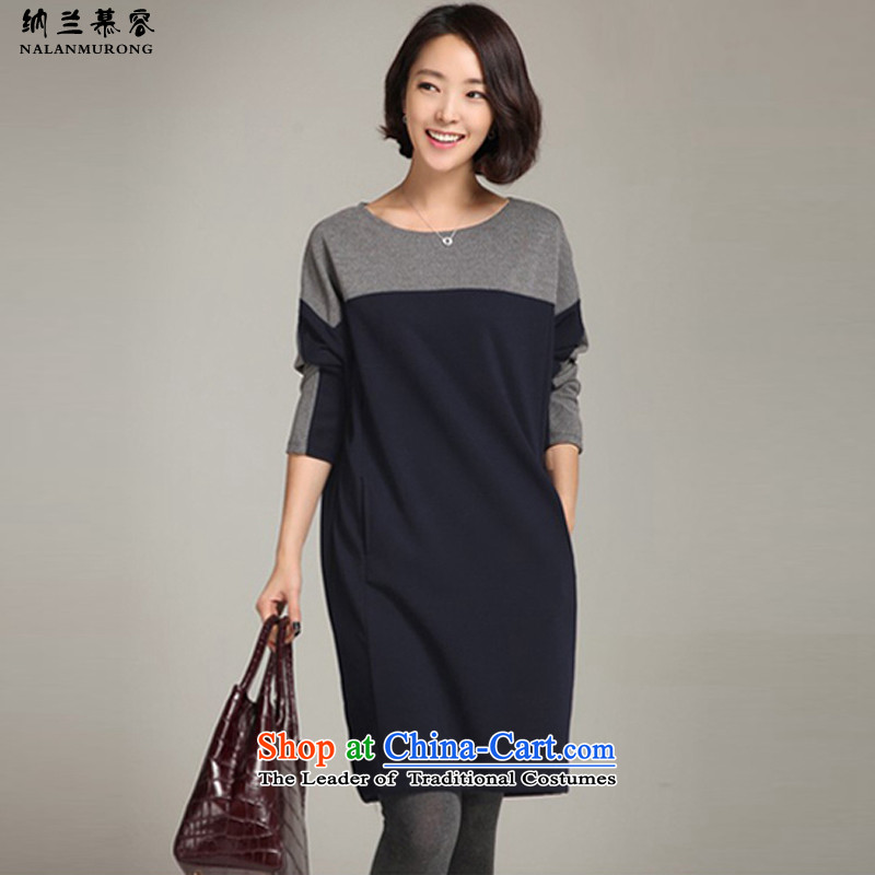 Naslin Murong Chan 2015 Fall_Winter Collections in the stitching new long skirt wear loose temperament larger female round-neck collar plus lint-free long-sleeved thick dresses 68232 plus lint-free_Blue3XL 145-160