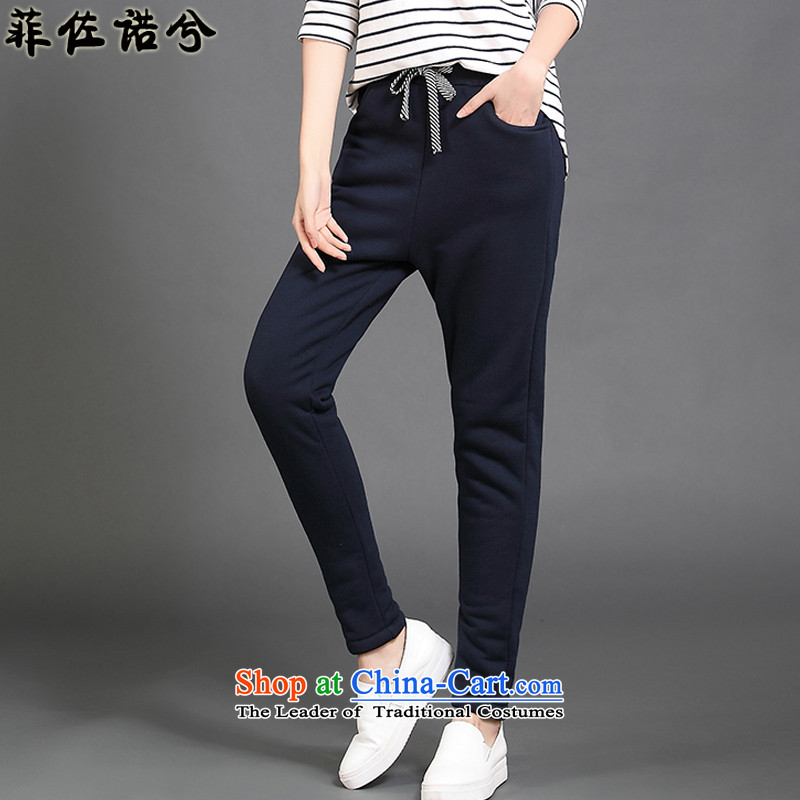 The officials of the fuseau larger ladies pants autumn and winter emulation Lamb Wool Velvet thick casual pants thick mm to xl pant blue trousers 155-175 4XL catty