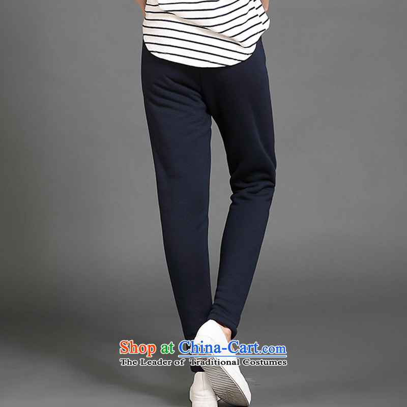 The officials of the fuseau larger ladies pants autumn and winter emulation Lamb Wool Velvet thick casual pants thick mm to xl pant trousers blue4XL 155-175, the turbid fuseau shopping on the Internet has been pressed.