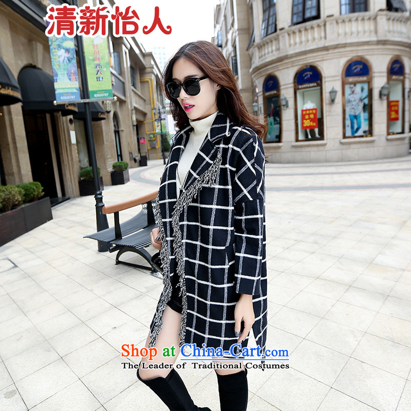 Fresh air in the autumn of 2015, the gross new coats of ladies in this long Korean navy blue jacket that gross, L