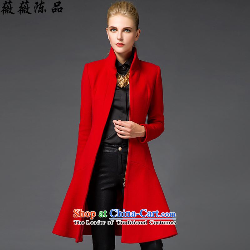Weiwei Chen No. 2015 winter new gross girls jacket? long hair? coats of Sau San for high-end of the woolen coat 9858 REDM