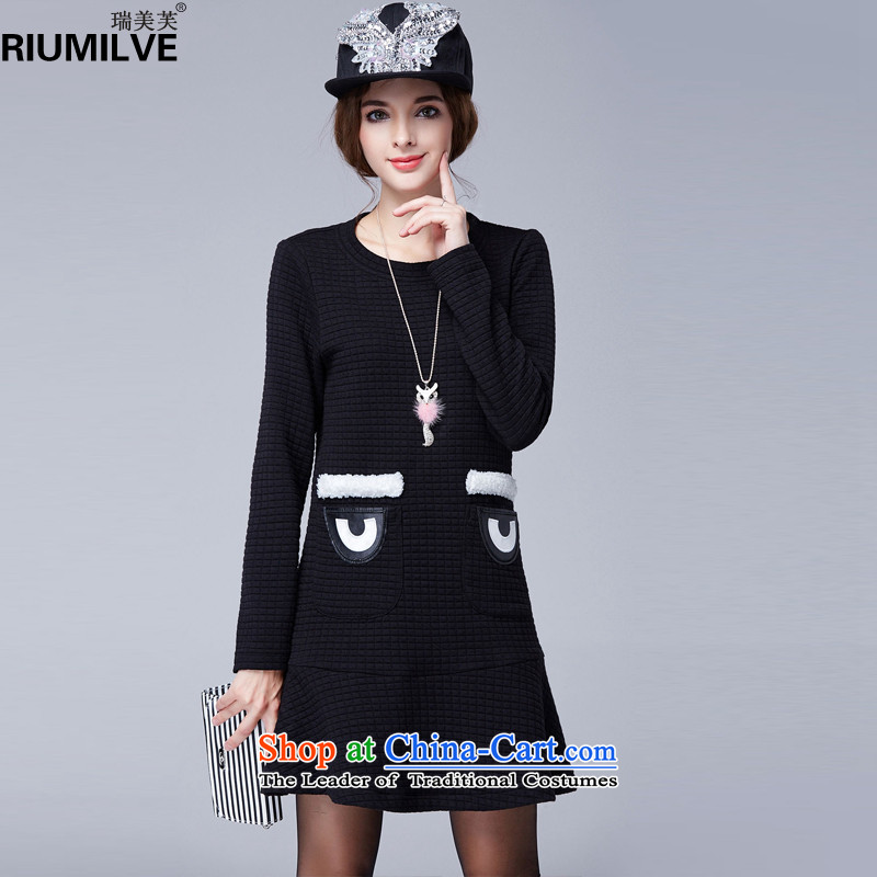 Rui Mei to 2015 to increase the number of ladies Fall/Winter Collections new stylish and simple dresses N1305 long-sleeved black 2XL