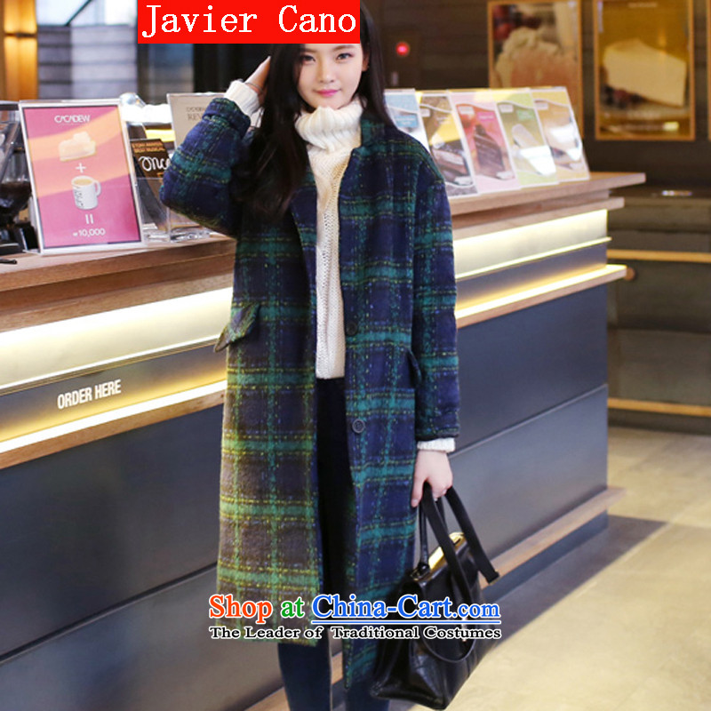 Javier cano 2015 Fall_Winter Collections in the New England long thick hair?   grid relaxd retro jacket gross coats female Green Grid? The cotton M