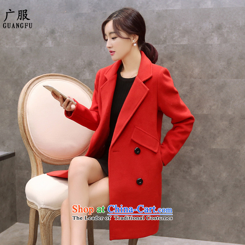 Wide service new double-coats women 2015 gross? of autumn and winter in Korea long suit for Sau San a wool coat�0燫ED ROUGE燣