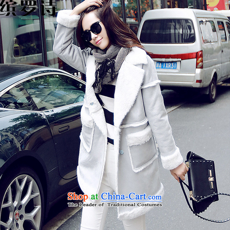 As of 2015, poetry of winter clothing New Sau San lapel in long Lamb Wool coat stitching jacket female yjm8047 gray聽S