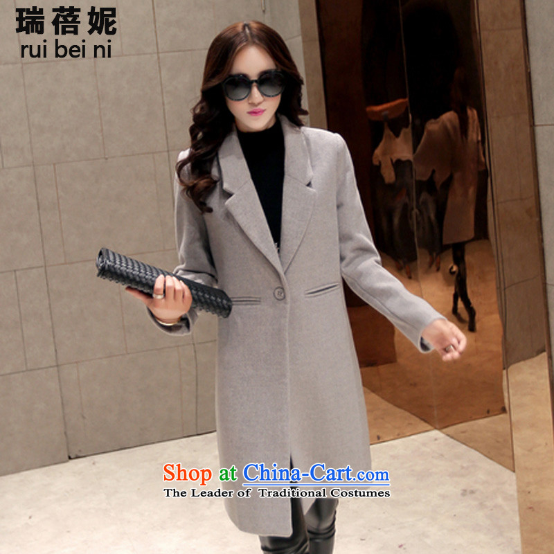 Rui Beibei Connie goddess mandatory autumn and winter 2015 new gross? female Korean jacket Tang-stars with Sau San? In gross coats long 9531 Light Gray XL 80-100 catty
