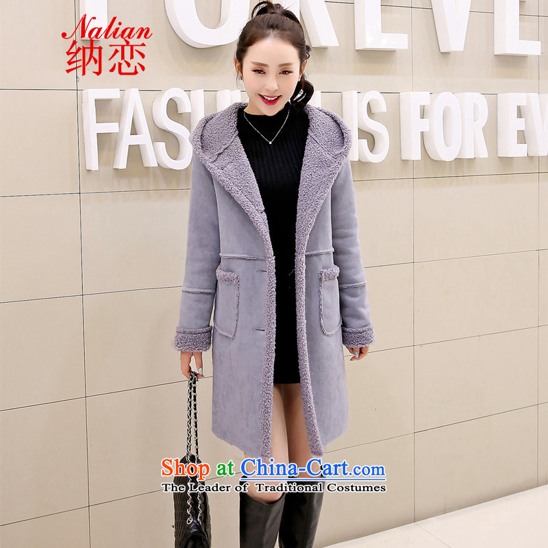 In�15 Winter Land new coats Korean_?   in the medium to long term_?? jacket Gross Gross sub-coats female pictures?燤 Gray