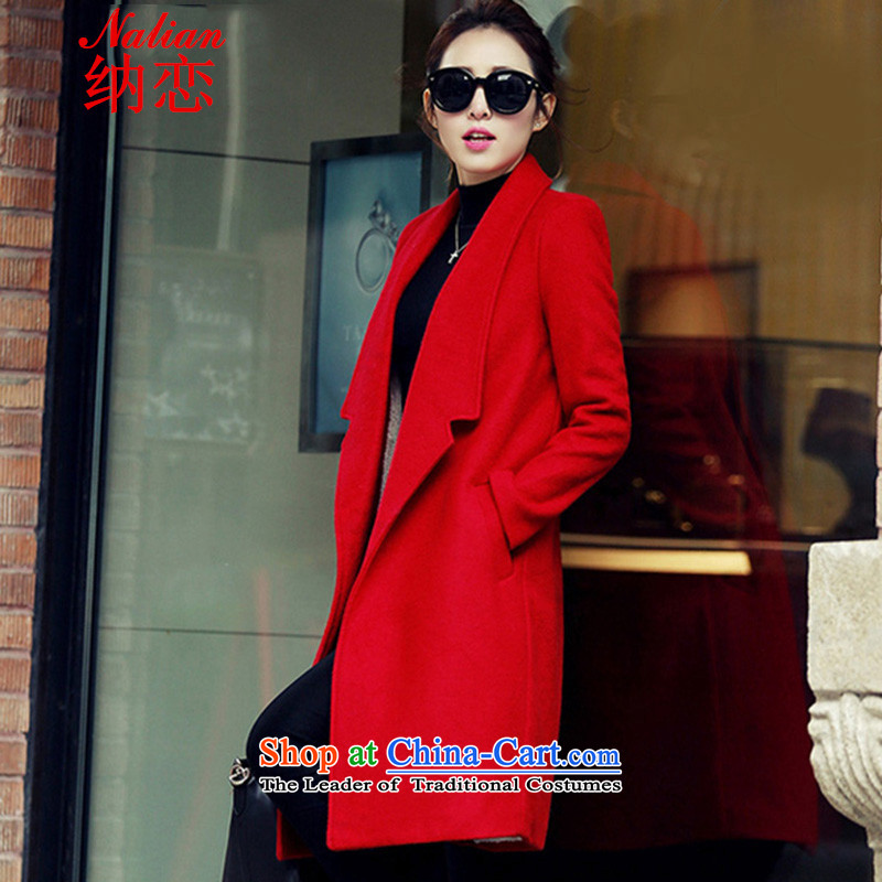 In  2015, the women's land new autumn and winter version won a long hair? jacket coat women gross Sau San? Picture red color thickL