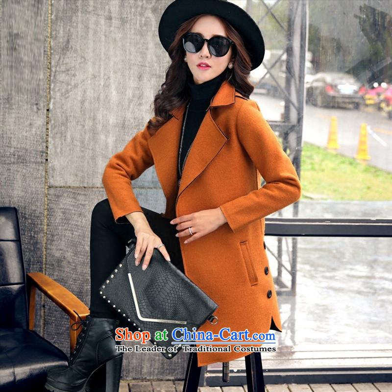 Dan JIE SHI MAO? 2015 autumn and winter coats female Korean version of the new long wool coat windbreaker women? jacket orangeXL