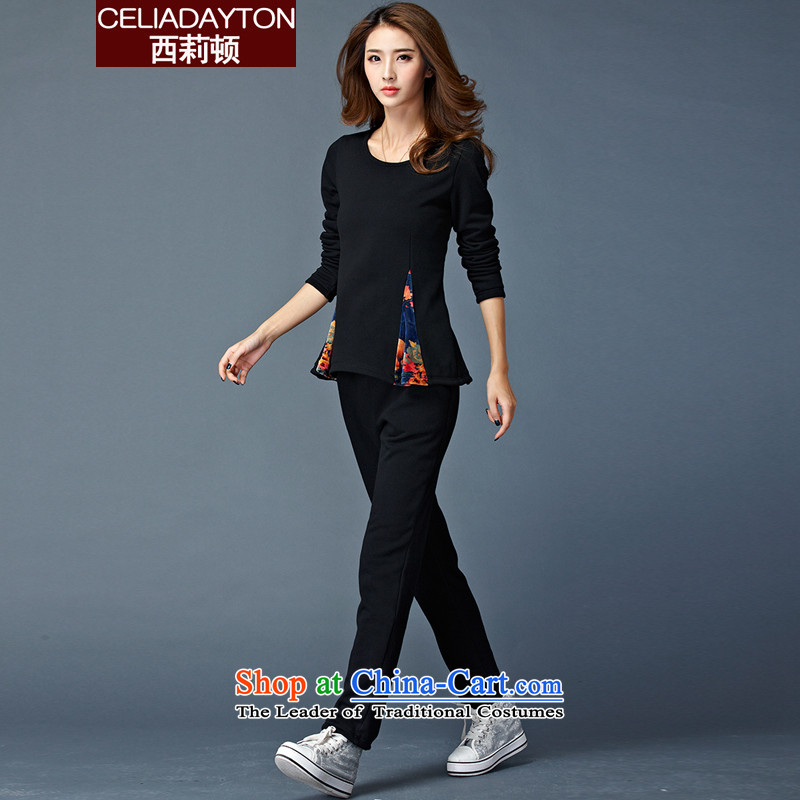 Szili Clinton larger women 2015 Fall_Winter Collections of new products thick mm sister Sau San video thin plus warm lint-free package thick leisure movement two kits female trend is indeed Borneo?XXXL black