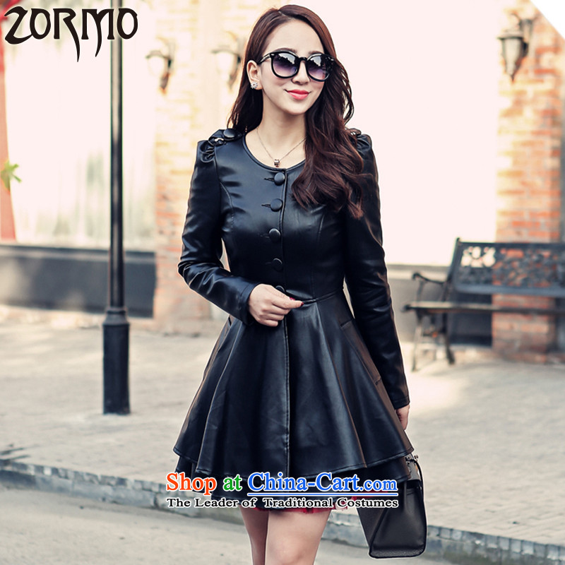 ?The Korean version of the female ZORMO TO XL PU long jacket, thick mm double-thick leather jacket, under the black?6XL 200-230 catty