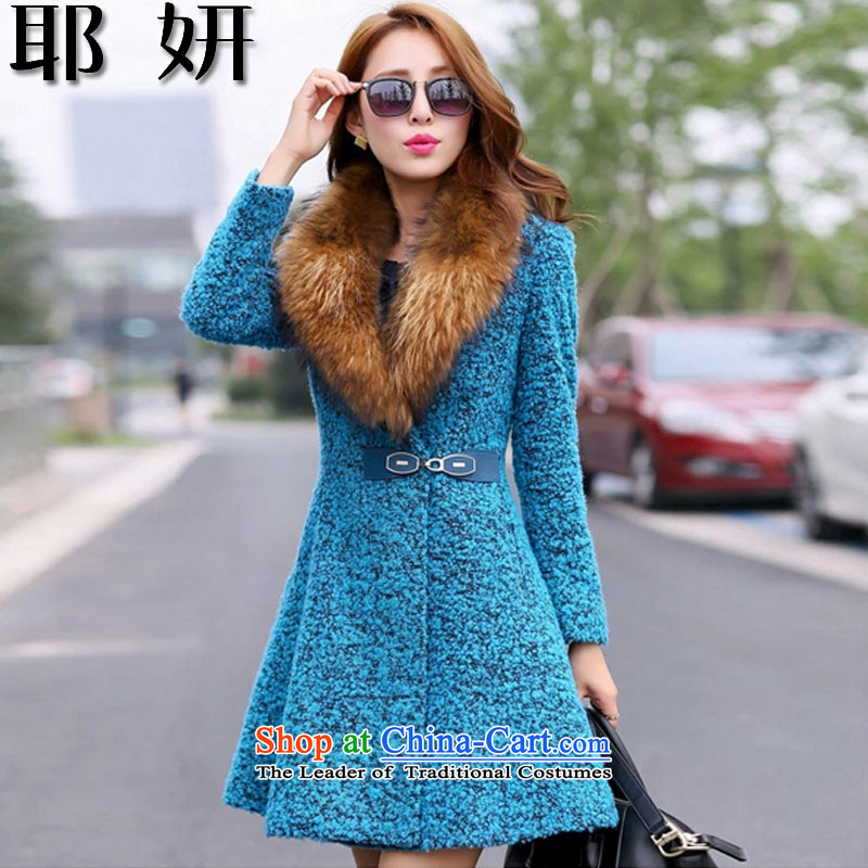 Charlene Choi 2015 autumn and winter and new gross girls jacket? Long woolen coat gross? coats of Sau San a wool coat female 8861# Peacock Blue2XL