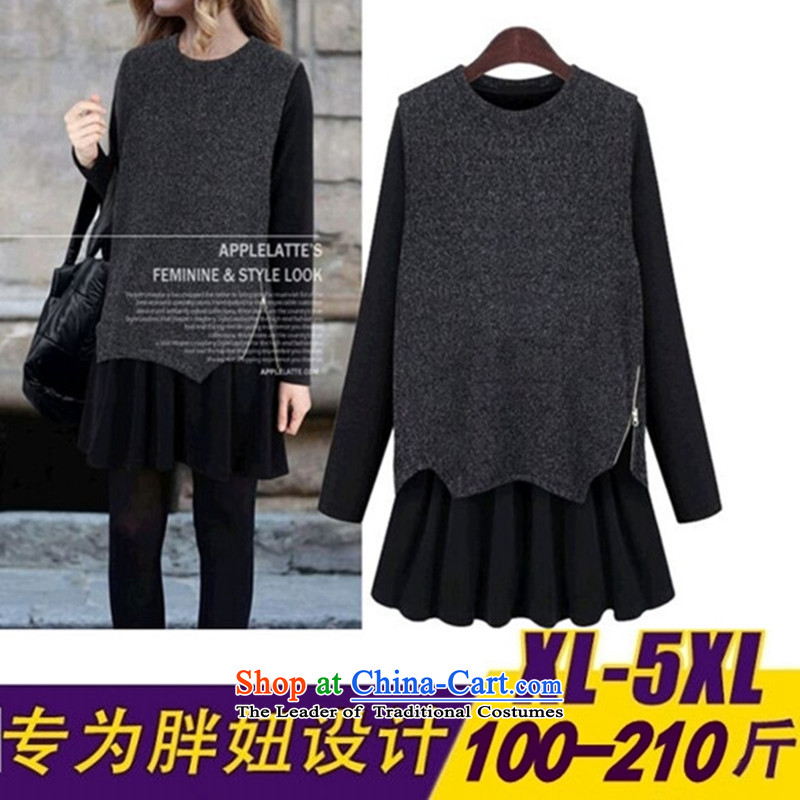 To increase the number of women in the skirt long-sleeved two kit in the medium to long term, Ms. loose dress for winter carbon燲XXXL