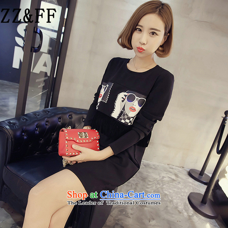 2015 Autumn and winter Zz_ff new Korean Version Stamp round-neck collar relaxd Sau San larger package and dresses in female long T-shirt, forming the Netherlands black燲L_120-145 catties_