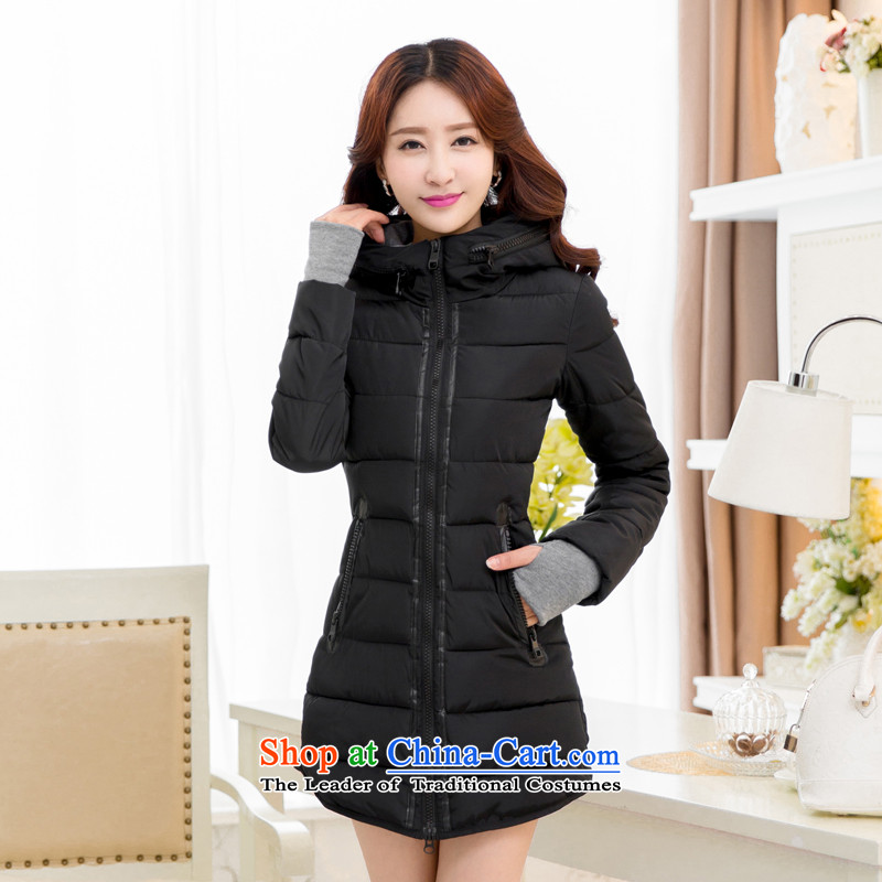 The Doi plus hypertrophy code women MM2015 thick Korean winter coats in cotton coat long female 茫镁貌芒 cotton coat jacket female black聽5XL_ recommendations 180-195 catties_