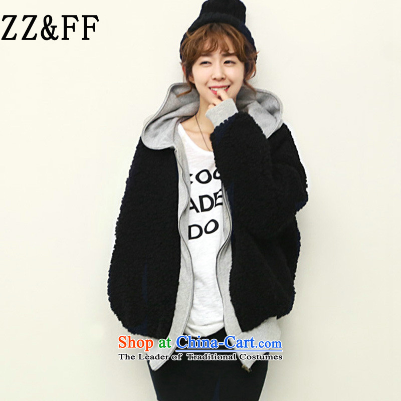 2015 Autumn and winter Zz&ff new Korean loose the lint-free with cap reinforcement sweater LADIES CARDIGAN XXL(145-170) black jacket
