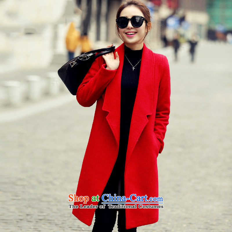 2015 Autumn and winter in Korean long Leisure pure color coats female gross? lapel?   Jacket coat1511REDM