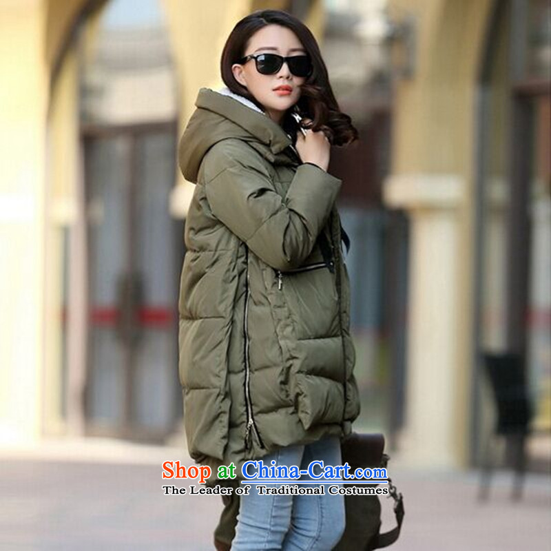2015 winter clothing new Korean version of large numbers of ladies thick MM loose, Hin thin, thick cotton-thick sister in long thick cotton coat winter with cap down jacket Army Green XXXL163-190 catty